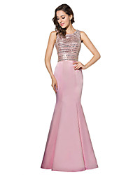 Mermaid / Trumpet Jewel Neck Floor Length Satin Formal Evening Dress with Beading by Sarahbridal