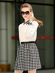 Sign Europe lapel long-sleeved chiffon waist ladies big houndstooth dress child