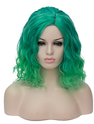 Mujer Pelucas sintéticas Sin Tapa Corto Verde Peluca natural Peluca de fiesta Peluca de Halloween Las pelucas del traje