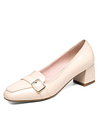 Loafers & Slip-Ons Spring Summer Fall Comfort PU Office & Career Dress Casual Chunky Heel Buckle