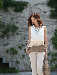2014 Spring Korean women summer fashion sleeveless chiffon shirt multicolor level Ruffled Dress