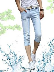 Homme simple Taille Normale Extensible Jeans Short Pantalon,Mince Couleur Pleine