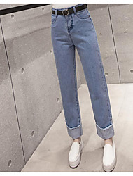 знак 2017 весной новый корейский вариант завивки прямой талией джинсовые брюки