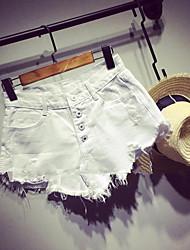 Femme simple Taille Basse Micro-élastique Jeans Short Pantalon,Ample Mince Couleur Pleine