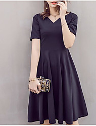 European and American style black dress Hepburn waist skirts spring and summer women's short-sleeved little black dress put on a large banquet