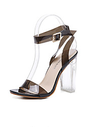 One word with high heels fashion word buckle crystal shoes new runway thick with transparent sandals