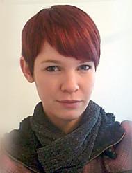 Chic straight layered short perruque de cheveux rouge cheveux perruque sans capuchon résistant à la chaleur pour les femmes 2017