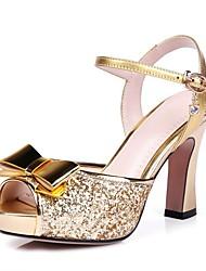 Non Customizable Women's Dance Shoes Leather Sparkling Glitter Leather Sparkling Glitter Latin Modern Sandals Heels Flared HeelPractice
