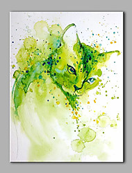 Hand-Painted Animal  Green Cat  Ready To Hang  Modern One Panel Canvas Oil Painting For Home Decoration