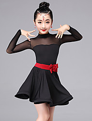 Latin Dance Dresses Kid's Performance Milk Fiber Sash/Ribbon 2 Pieces Long Sleeve Dress Waist Belt