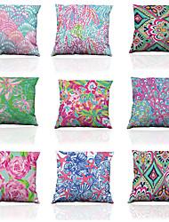 Set of 9 Polyester Imitation silk pattern Linen Pillowcase Sofa Home Decor Cushion Cover