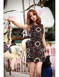 корейская версия зрелого света ветер цифровой печати жаккардовые талии платье