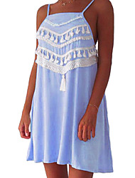 Women's Boho|Tassel Casual/Daily Street chic Shift Dress,Solid Strap Mini Sleeveless Polyester Summer Mid Rise Micro-elastic Medium