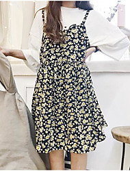 Women's Going out Beach A Line Dress,Floral Strap Knee-length Sleeveless Polyester Summer High Rise Micro-elastic Thin