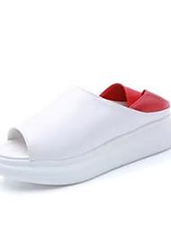 Для женщин Тапочки и Шлепанцы Сандалии Удобная обувь Полиуретан Весна Лето Повседневные Удобная обувь На плоской подошвеЧерный Красный