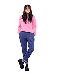 Harajuku bf vento grandes calças bolso colapso nove pontos calça jeans solta grandes estaleiros cintura elástica calças harem de flash