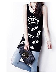 Ms. long section of small print camisole new female bag hip bottoming outer wear cotton summer