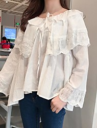 Really making new layers of lotus leaf lace blouse was thin big turn horn sleeve shirt Nett