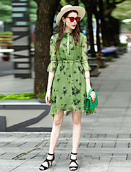 Women's Going out Casual/Daily Work Loose Dress,Print Round Neck Above Knee ½ Length Sleeve Polyester Spring Summer Mid Rise Inelastic