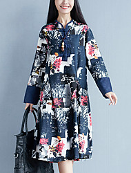 Sign Pankou spring new national wind retro big yards long section long-sleeved cotton dress