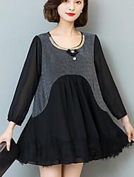 2017 spring new large size dress Korean version of Slim was thin chiffon dress big yards