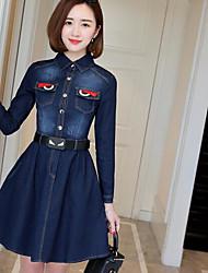 Sign denim dress female 2017 spring new long-sleeved denim skirt and long sections Slim waist skirt