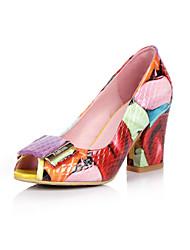 Da donna-Tacchi-Ufficio e lavoro Formale Casual-Club Shoes-Quadrato-Pelle-Rosso