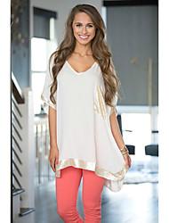 Ebay Aliexpress желание европейских и американских женщин&Круглая шея сшивает свободную коротким рукавом футболку подголовник