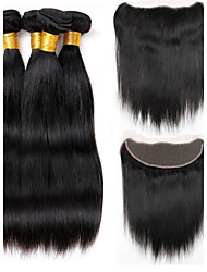 Vinsteen Brazilian Hair Weave Bundles Best 8A with Lace Frontal Closure Unprocessed Brazillian Straight Human Hair Extensions Natural Color