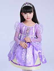 Ball Gown Knee-length Flower Girl Dress - Satin Tulle Polyester Long Sleeve Jewel with Pattern / Print Ruffles
