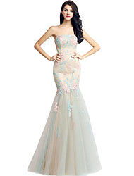 Mermaid / Trumpet Strapless Floor Length Lace Tulle Formal Evening Dress with Lace