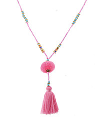 Lureme Bohemia Beaded Gemstone Tassel Necklace with Pom Pom