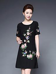 Femme Broderie Trapèze Robe Grandes Tailles Chinoiserie,Fleur Col Arrondi Au dessus du genou Manches Courtes Polyester Printemps Eté Taille Normale