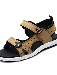 Men's Sandals Summer Comfort Couple Shoes Light Soles Cowhide Outdoor Casual Flat Heel Magic Tape Water Shoes