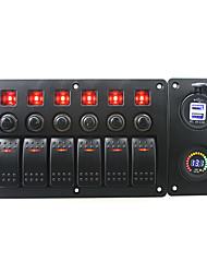 Iztoss rojo led dc12v 6 banda on-off interruptor basculante curvado panel led 3.1a usb 12v tomas de voltímetro y disyuntor con etiquetas