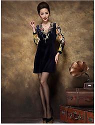 225 signes en velours doré robe à manches longues robe mère d'âge mûr robe d'été jupe haut de gamme 2016