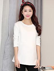 Подписать новые материнства корейских беременных женщин хлопка с длинными рукавами шею футболку для беременных женщин