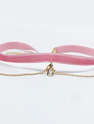 Жен. Ожерелья-бархатки В форме звезды Бархат Сплав Multi-Wear способы Розовый Бижутерия Для Свадьба Обручение Повседневные 1шт