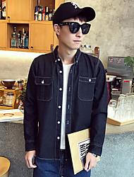 2017 primavera e in autunno nuovi uomini&# 39s camicia di jeans di colore solido camicia a maniche lunghe M Cafe