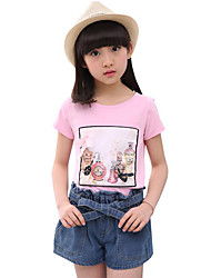 Girls' Casual/Daily Beach Holiday Solid Print Sets,Cotton Summer Short Sleeve Clothing Set