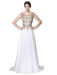 Formal Evening Dress Sheath / Column Scoop Court Train Chiffon with Beading