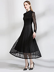 Sign now trade explosion models in Europe and America leaves openwork lace dress long sleeve collar big swing