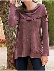 Damen Solide Einfach Lässig/Alltäglich T-shirt,Mit Kapuze Langarm Baumwolle Dünn