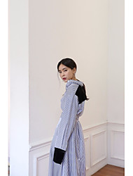 Women's Going out Casual/Daily Street chic Loose Dress,Solid Asymmetrical Asymmetrical Long Sleeve Polyester Nylon Spring Mid Rise