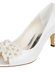 Mujer-Tacón Stiletto-Zapatos del club-Zapatos de boda-Boda Fiesta y Noche-Satén Elástico-Marfil