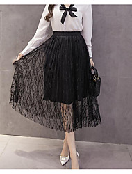 Women really making lace thread empty female retro high waist pleated skirt long section was thin skirts