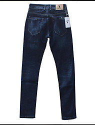 Men's High Rise Micro-elastic Jeans Pants,Simple Skinny Tassel Solid
