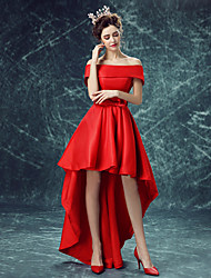 Cocktail Party Dress A-line Off-the-shoulder Asymmetrical Satin with Bow(s)