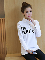 Sign shirt female long-sleeved white shirt head embroidery letters long section of the Korean version bottoming shirt