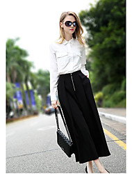 Model real shot 2017 spring new European stations catwalk models ladies high waist wide leg pants pant
